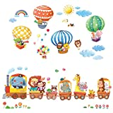 kids bedroom sticker wall murals DECOWALL DL-1406L Animal Train & Hot Air Balloons Kids Wall Stickers Wall Decals Peel and Stick Removable Wall Stickers for Kids Nursery Bedroom Living Room (XLarge)