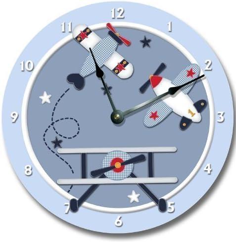 Baby Aviator Wall Art Clock Nursery Airplane Large 10 1 2