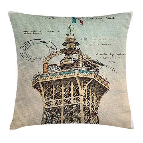 YABABY Eiffel Tower Throw Pillow Cushion Cover, Vintage Postcard with Eiffel Tower Paris France 1910 Rare Antique Collection Image, Decorative Square Accent Pillow Case, 18 X 18 inches, Beige ()