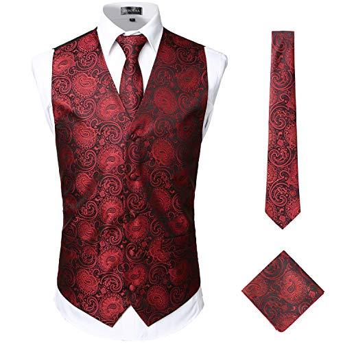 ZEROYAA Mens Classic 3pc Jacquard Paisley Vest Set Necktie Pocket Square Waistcoat for Suit or Tuxedo ZLSV08 Burgundy Black XXX-Large (Western Show Shirts Men)