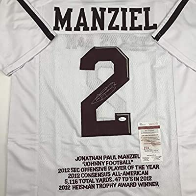 on sale cada8 ae67b Autographed/Signed Johnny Manziel Texas A&M White Stat ...