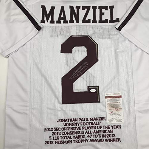 069215bfa20 Autographed Signed Johnny Manziel Texas A M White Stat College Football  Jersey JSA COA