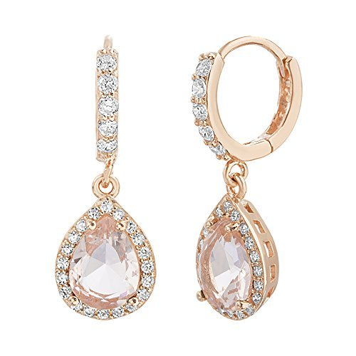 Lesa Michele Womens Simulated Morganite and Cubic Zirconia Teardrop Dangle Huggie Hoop Earring in Rose Gold over Sterling Silver