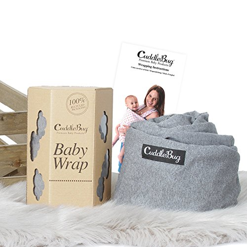 Baby Wrap Ergo Carrier Sling - by CuddleBug - Available in 8 Colors - Baby Sling, Baby Wrap Carrier, Nursing Cover - Specialized Baby Slings and Wraps for Infants and Newborn (Grey) by CuddleBug (Image #3)