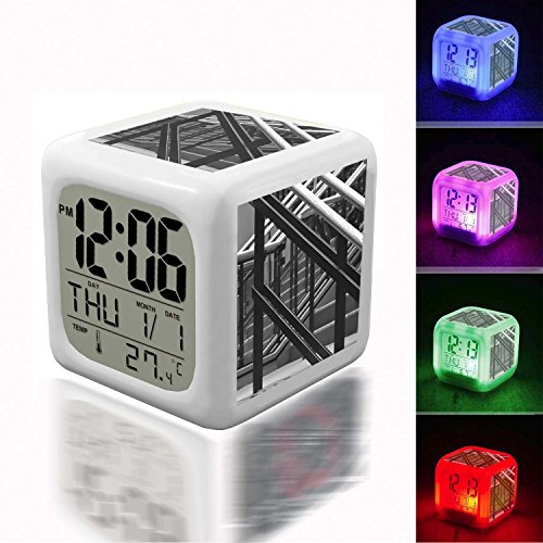 Alarm Clock 7 LED Color Changing Wake Up Bedroom with Data and Temperature Display (Changable Color) Customize The pattern-560.Symphony Hall Abstract