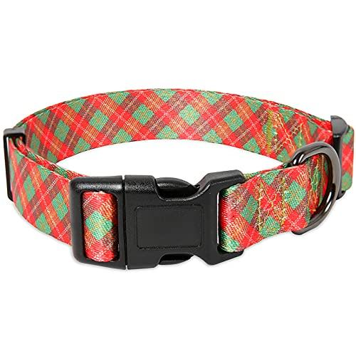 collar para perro ajustable broche metal green red talle L