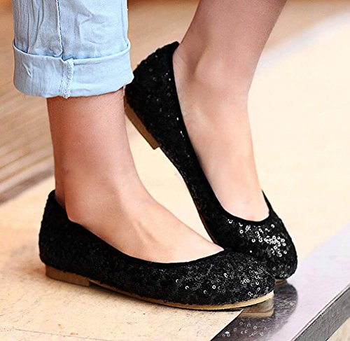 SHOWHOW Womens Comfy Sequins Round Toe No Heel Low Top Slip On Flats Shoes Black qC1C3Zl4