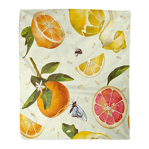 Emvency Throw Blanket Warm Cozy Print Flannel Vintage Citrus Lemon Orange Mandarin and Grapefruit for Tea Juice Natural Comfortable Soft for Bed Sofa and Couch 60x80 Inches from Emvency
