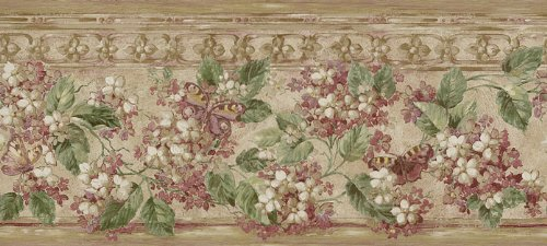 Wallpaper Border Waverly Whisper Burgundy Floral with Butterflies on Beige Faux