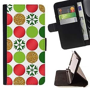 For Apple (5.5 inches!!!) iPhone 6+ Plus / 6S+ Plus Case , Spots puntea los copos de Arte Verde Rojo- la tarjeta de Crédito Slots PU Funda de cuero Monedero caso cubierta de piel