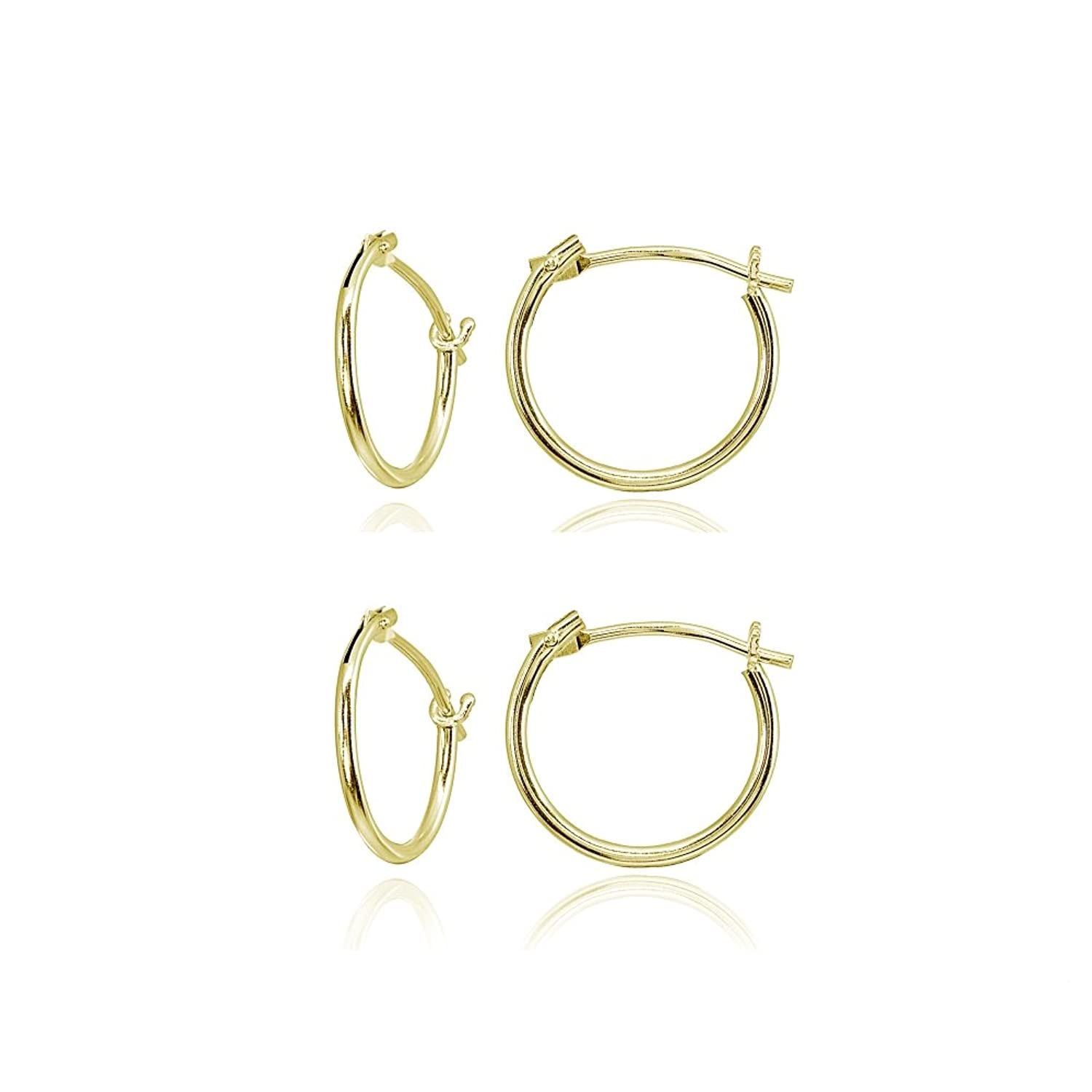 2 Pairs 14K Gold Tiny Small 12mm High Polished Round Thin Lightweight Unisex Hoop Earrings