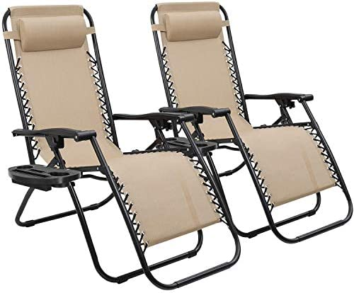 Devoko Patio Zero Gravity Chair Outdoor Folding Adjustable Reclining Chairs Pool Side Using Lawn Lounge Chair