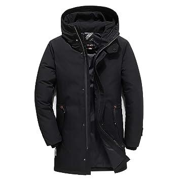 Chaqueta larga abajo hombres Grueso Cálido Casual Abajo Collar Abrigos de Nieve de Invierno Hombres Abrigo de Invierno: Amazon.es: Deportes y aire libre