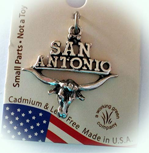 Sterling Silver 22x22mm Says San Antonio on Texas Longhorn Charm Vintage Crafting Pendant Jewelry Making Supplies - DIY for Necklace Bracelet Accessories by CharmingSS