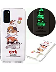 Miagon Luminous Effect Back Case Cover for Samsung Galaxy A31,Noctilucent Glow in the Dark Green Soft Slim TPU Gel Flexible Bumper,Lovely Cat