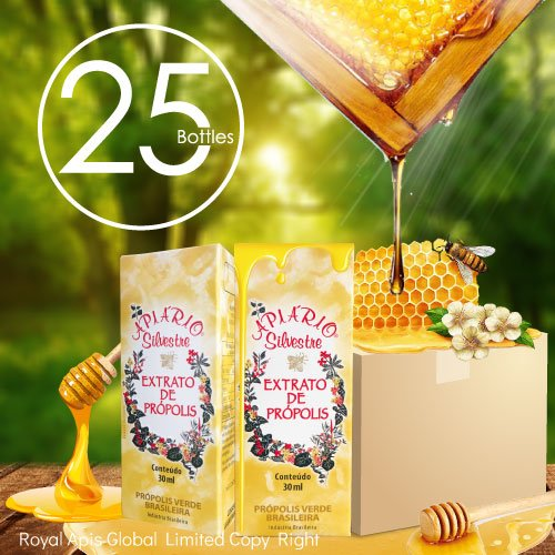 Limited Time Special $50 Off with Coupon - Official Distributor - 1 Box (25 Bottles) Apiario Silvestre Brazilian Green Bee Propolis Liquid - Cereal Alcoholic Extract 30 ml
