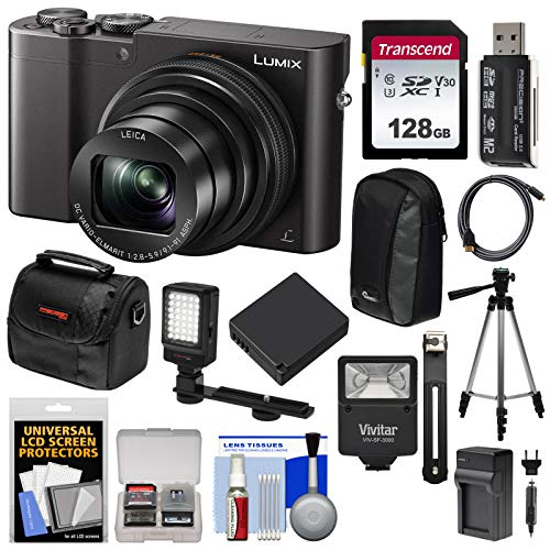 Panasonic Lumix DMC-ZS100 4K Wi-Fi Digital Camera (Black) with 128GB Card + Cases + Battery + Charger + Tripod + Flash + Kit (Panasonic Lumix Dmc Lx100 Digital Camera Silver)