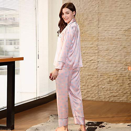 M Piezas Servicio Domicilio Pink Pink Larga Pijamas A Simulación Size Traje Damas Pantalones Dos Primavera Home De color Xinsu Seda Manga vHpZpq