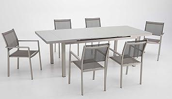 Conjunto terraza y jardin aluminio anodizado mesa extensible 6 ...
