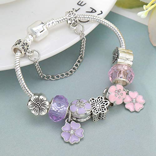 (Gift for Girlfriend Dropshipping Azure Crystal Charm Bracelet Along with Marano Beads Fits Original Fine Bracelet For ladies Friendship Bracelet Decoration)