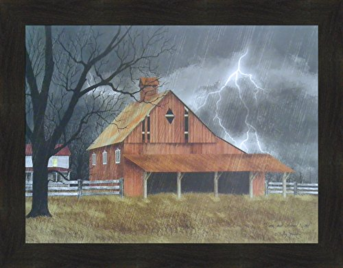 t by Billy Jacobs 22x28 Red Barn Farm Rain Lightning Storm Folk Art Framed Print Picture ()