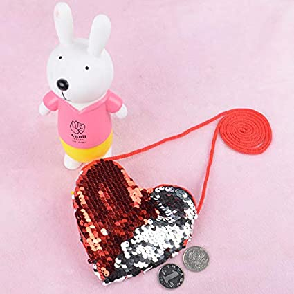 Stylish Novel Crossbody Bags Color Stitching Sequin Love Heart Package Girls Long Lanyard Coin Purse pollyhb Baby Messenger Bag