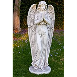 Alpine Angel Praying Stone Garden Statue, 47 Inch Tall
