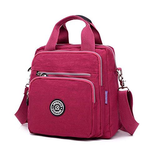 Foino Bolsos Muje Bolso Bandolera Ligero Mochilas Impermeable Modar Casual Bolsas de Viaje Bolsos Escuela para Tablet Sport Bag Rojo 3