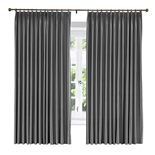 ChadMade Soundproof Energy Saving Polyester Cotton Silk Solid Curtain Dark Grey 120