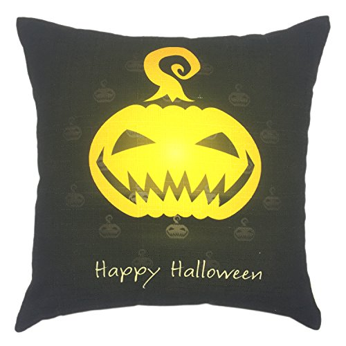 YOUR SMILE Halloween Square Decorative Throw Pillow Case Cushion Cover 18x18 Inch (Pumpkin Lantern)(44CM44CM)]()