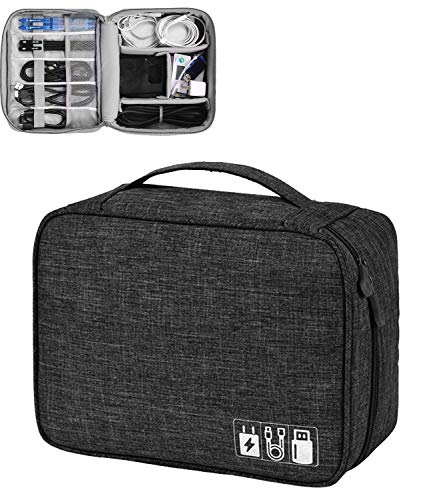 House of Quirk Electronics Accessories Organizer Bag, Universal Carry Travel Gadget Bag for Cables, Plug and More…