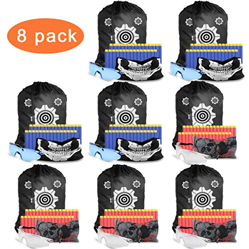 POKONBOY Compatible for Nerf Party Supplies for Kids. Accessories for Toy Gun Birthday Wars, Basement or Backyard Games. Includes Darts,Tactical Face Mask, Eye Safety Glasses for Two Teams.