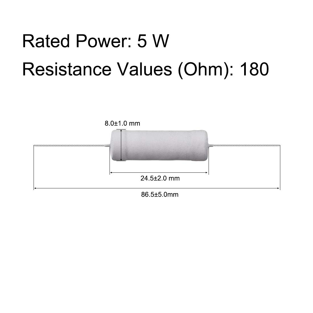 Metalloxid Film Widerstand 5 Watt Axiales Kabel 56 Ohm /±5/% Toleranz sourcing map 10 Stk