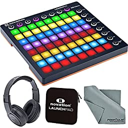 Novation Launchpad Ableton Live Controller Bundle with Novation Launchpad Soft Carry Sleeve + Headphones + FiberTique Cleaning Cloth