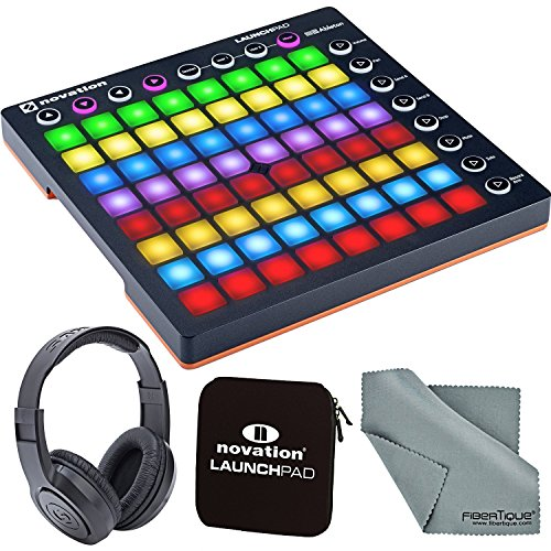 Novation Launchpad MK II Ableton Live Controller Bundle with Novation Launchpad Soft Carry Sleeve + Headphones + FiberTique Cleaning Cloth by Photo Savings