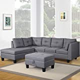 Sectional Harper & Bright Designs Contemporary 3 Piece Sectional Sofa Set with Ottoman and Chaise Lounge Grey Linen Fabric (Grey)