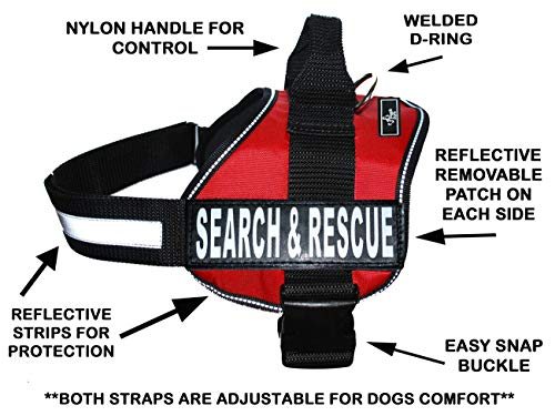 - Search & Rescue Harness Vest Cool Comfort Nylon for dogs Small Medium Large Girth Purchase comes with 2 Reflective Search & Rescue removable patches. Please measure your dog before ordering.