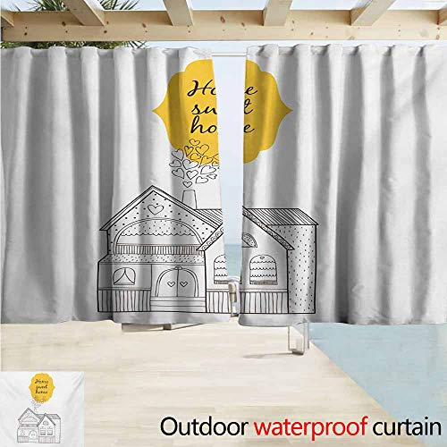 Wlkecgi Home Sweet Home Pergola Curtain Village House with Dots Lines and Hearts Old English Country Great for Living Rooms & Bedrooms W55 xL45 Yellow Dark Brown White