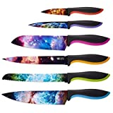 Kitchen Knife Set in Gift Box by Chef's Vision - Cosmos Series - Unique Gifts for Men and for Women - Free Bonus Booklet - 6 Piece Color Set - Chef, Bread, Slicer, Santoku, Utility, Paring Knives