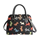Black Scottie Dog Women's Fashion Tapestry Top Handle Handbag with Detachable Strap to Convert to Shoulder Bag by Signare in Black (CONV-SCOT)