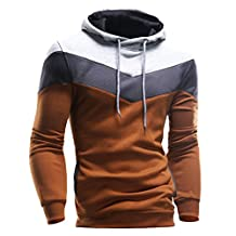Fashion Story Men Color-blocking Pullover Biker Hood Outwear Sweater Coat Jacket