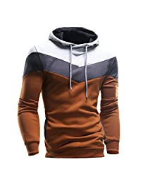 Fashion Story Men Color-Blocking Pullover Biker Hood Outwear Sweater Coat Jacket