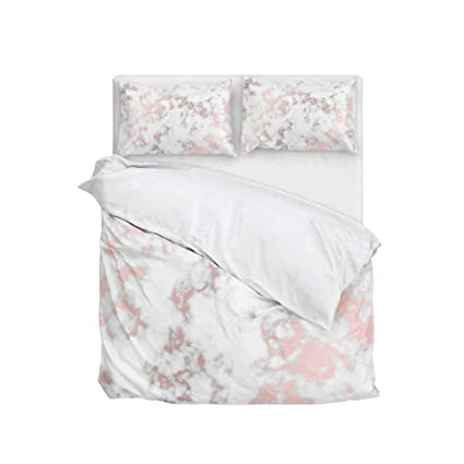 Cooper Girl Rose Gold Marble Duvet Cover Set Queen Soft Microfiber Polyester 1 Duvet Cover And 2 Pillow Shams Three Piece
