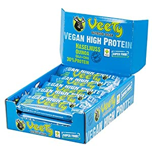 Veety – Vegan High Protein Bar 30% Hazelnut – Superfood (Goji, Quinoa, Chia) Rice Hemp Protein Vegan Natural Raw Made in Bavaria, 15 x 48g