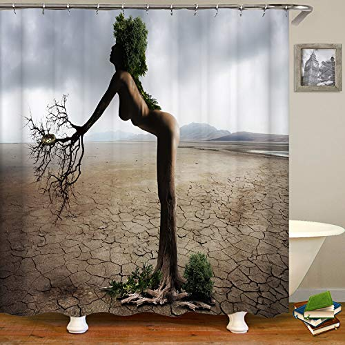 SARA NELL Naked and Beautiful African Woman On Desert Shower Curtain,Waterproof Polyester Fabric,Bath Curtains Bathroom Decorations Home Decor Sets,72X72 Inches with 12 Hooks
