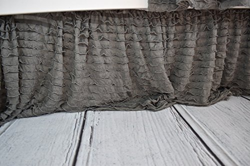 Grey Crib Skirt, Dust Ruffle for Baby Girl Nursery Bedding, Shabby Chic Luxury Vintage Cottage Style for Newborn Bedroom Decor