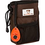 The German Päw Dog Treat Pouch for Training, 7x2.5x5 Inches, Brown, Includes Training Clicker