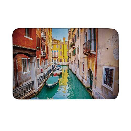 (Venice Non Slip Door Mat,Vibrant Colorful Venice View Canal Buildings Gondolas Green Water Romantic Landmark Decorative Floor Mat for Bathroom Living Room,23