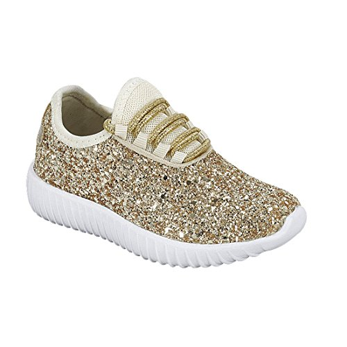 Forever Link Women's Remy-18 Glitter Sneakers Fashion Sneakers Sparkly Shoes for Women Gold -