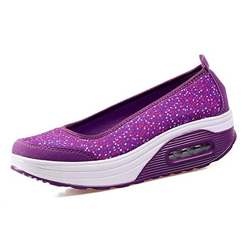 Bomba de de Respirables con Entrenamiento Casuales Enfermera Zapatillas Netos Zapatos y Zapatos atléticos Primavera de Verano para Mujer Zapatos Púrpura Awn8SxZXq
